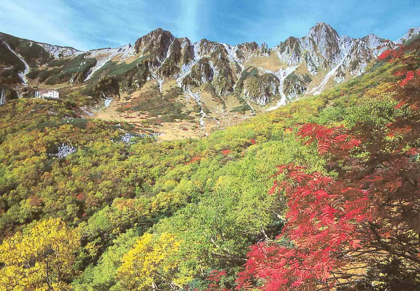 Beautiful fall colors of leaves at the Central Alps Senjojiki Cirque