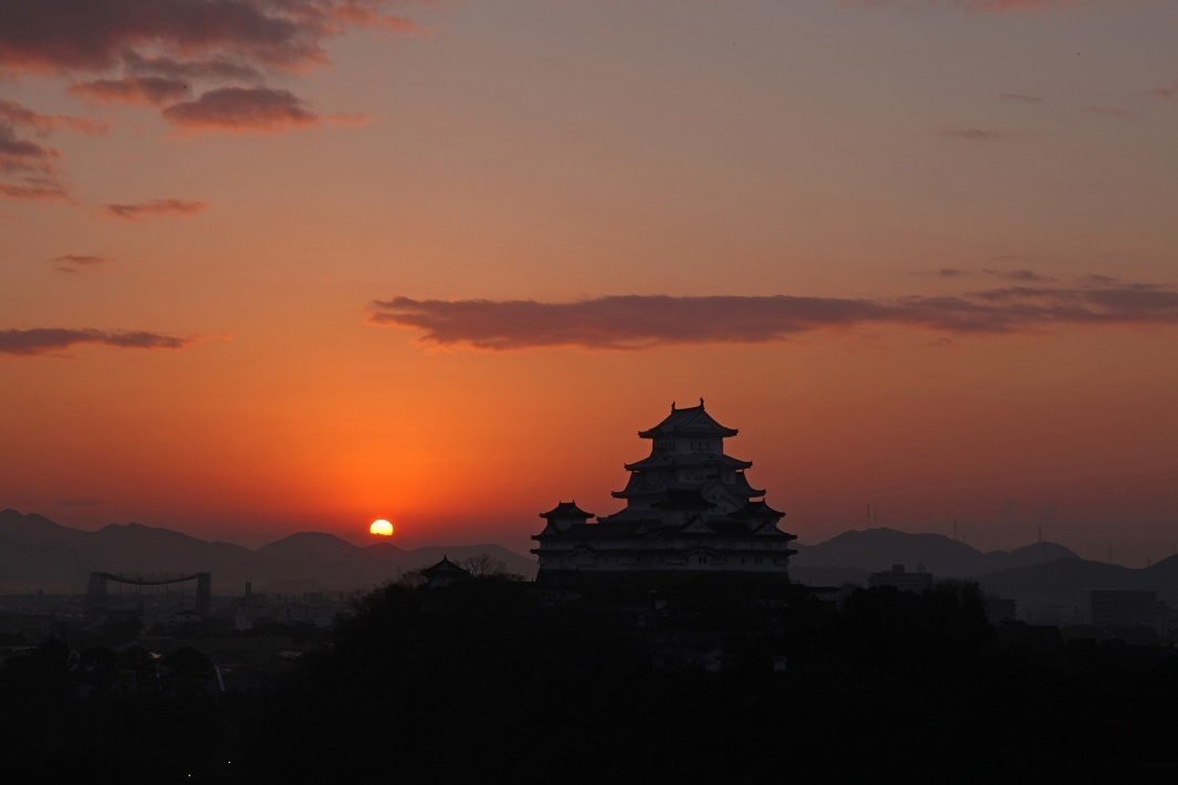Himeji castle and Sunset.