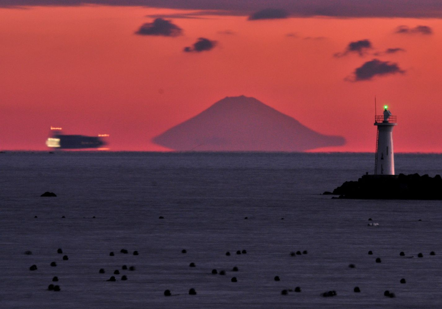 Lighthouse and Mt. Fuji